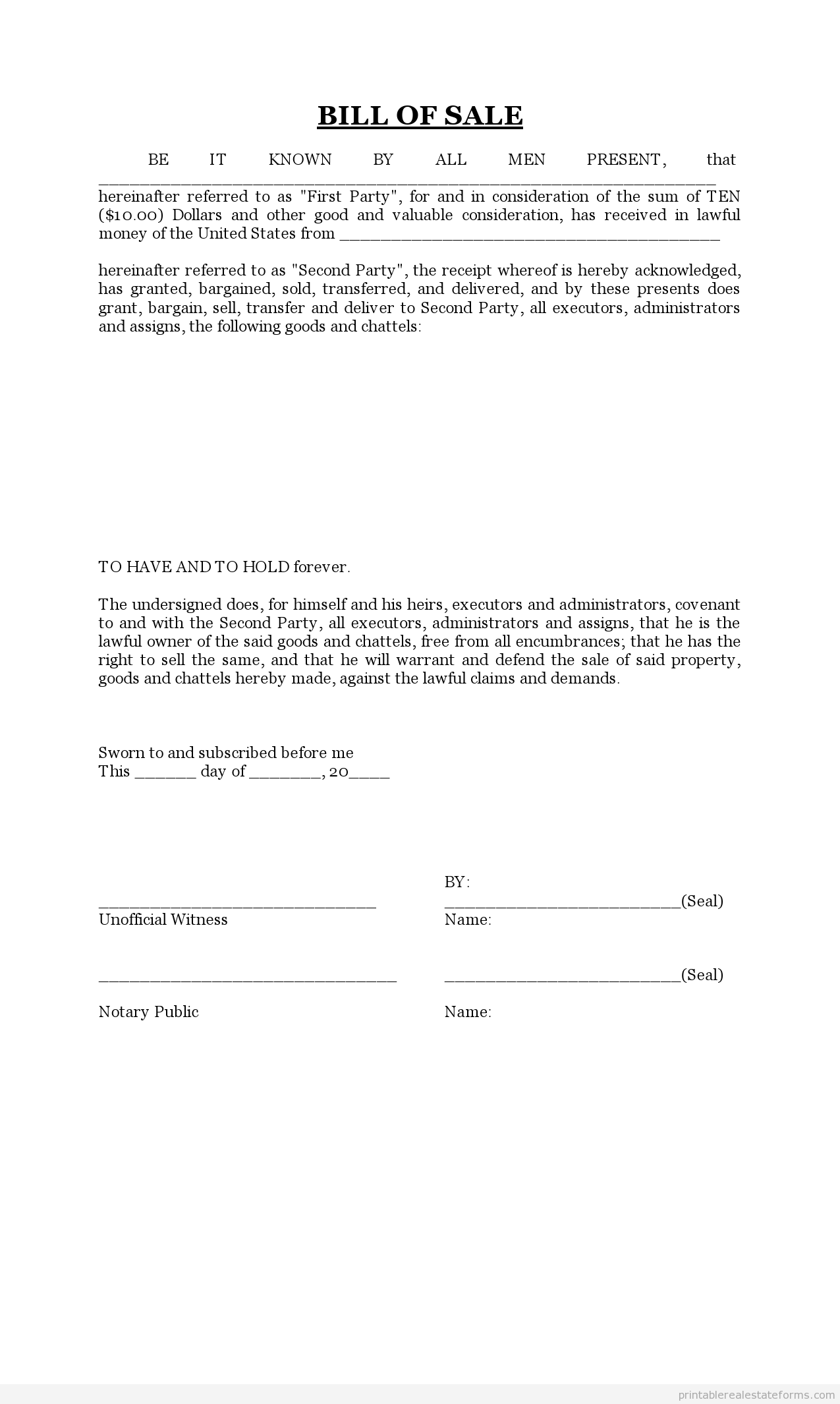 Printable Sample Bill Of Sale Form  Generic Legal Documents