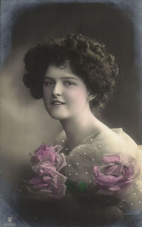 Edwardian beautiful glamour lady with veil and roses tinted photo postcard: