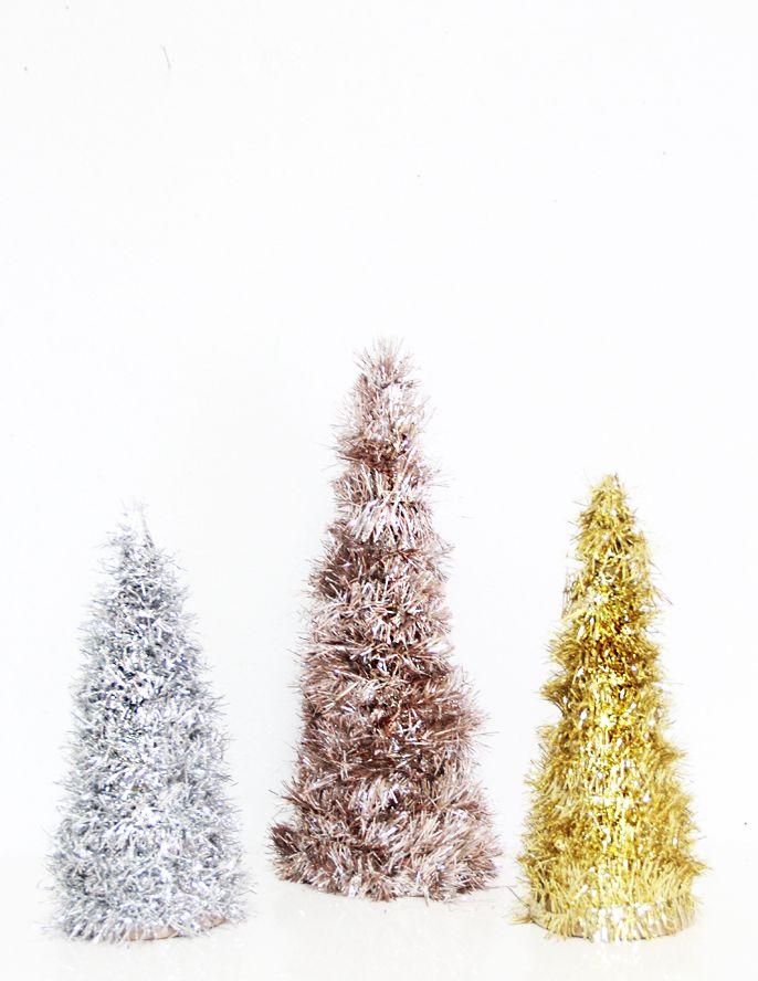 Diy Metallic Tinsel Trees A Bubbly Life Cone Christmas Trees Tinsel Christmas Tree Cone Trees