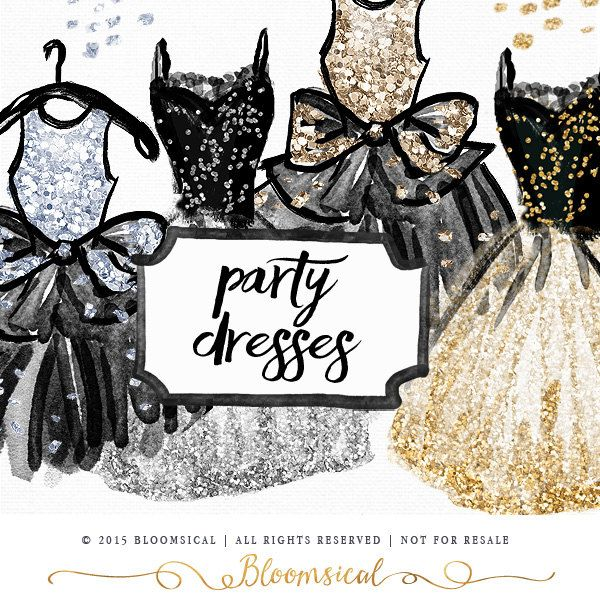 Party Dress Clip Art   Hand Painted Watercolor cocktail prom dresses ...