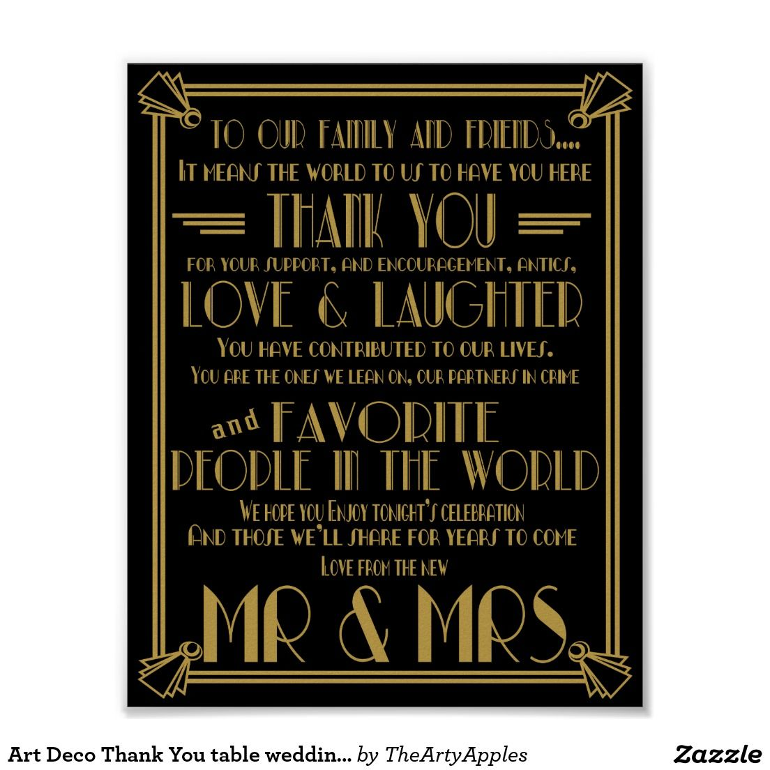 Wedding Gift For Boss: Art Deco Thank You Table Wedding Signs
