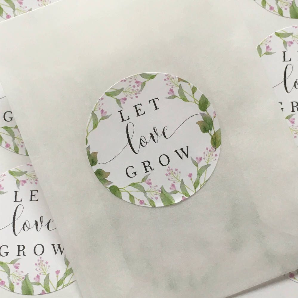 Let Love Grow Stickers Wedding Favor Stickers Seed Packet Labels ...