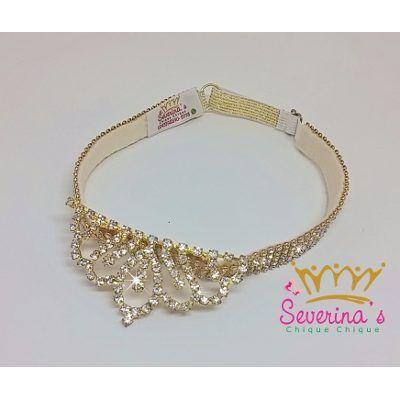 Tiara Faixa Infantil - Coroa Princesa Dourado Strass - R  55,90 ... 35a6645071