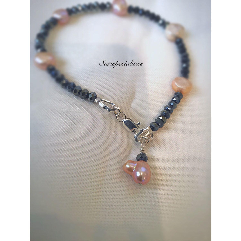 Pearl bracelet, contrast minimalist bracelet, elegant vibrant bracelet, organic pink freshwater pearl bracelet,gift for her , woman jewelry by SuriSpecialties on Etsy https://www.etsy.com/listing/476567520/pearl-bracelet-contrast-minimalist