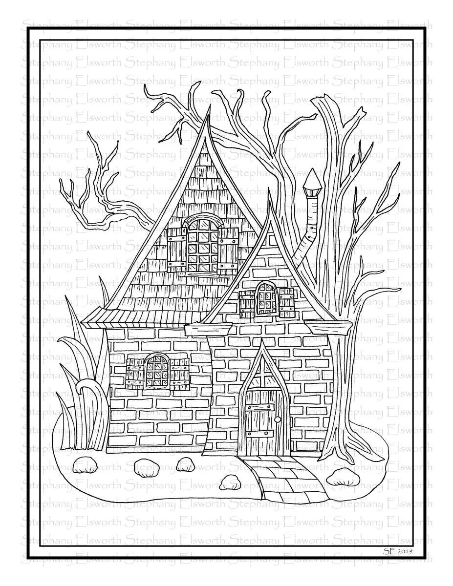 Brick And Shingle Fairy House Printable Coloring Page Coloring