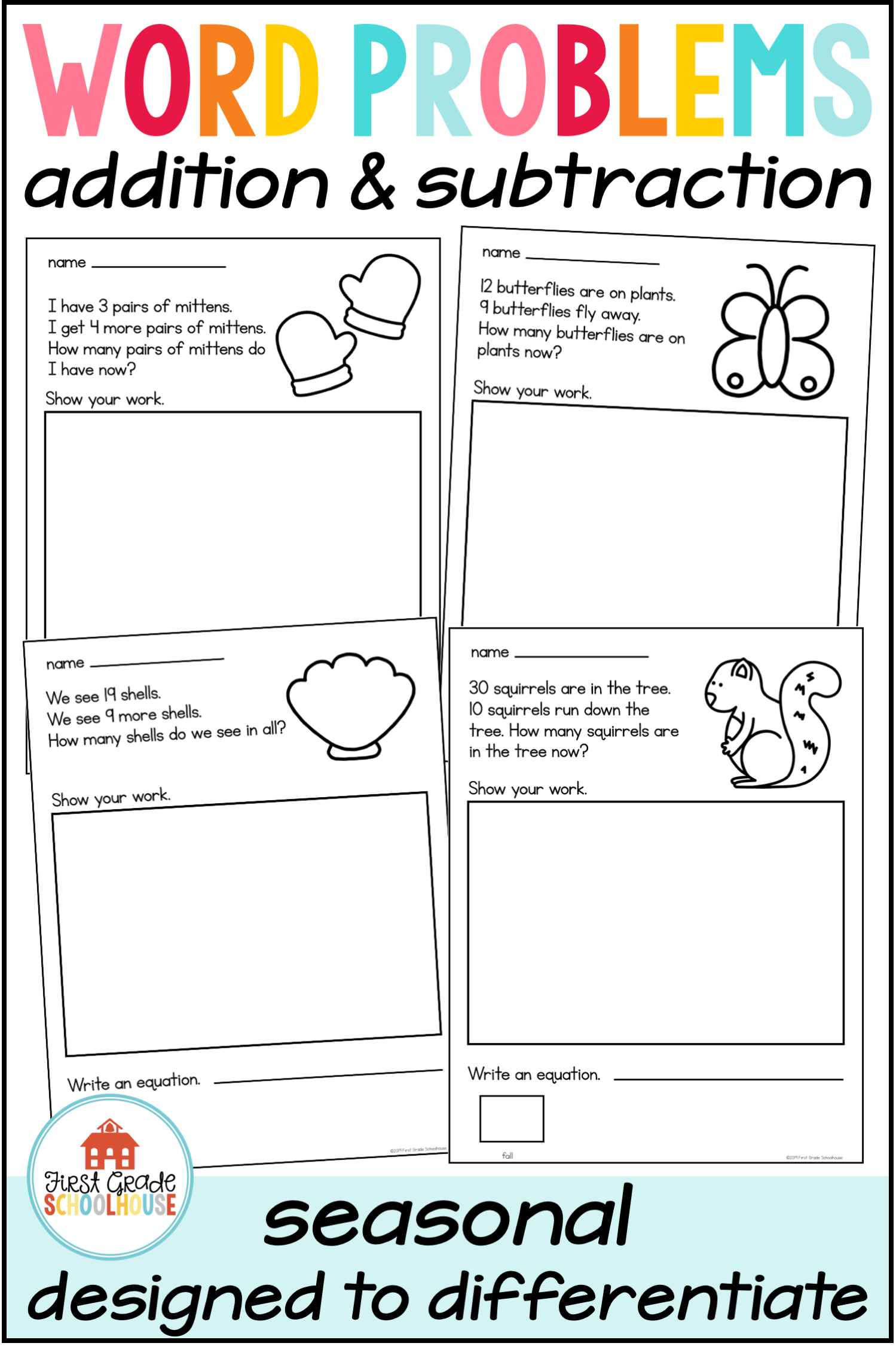 Word Problems Addition and Subtraction   Seasons   Preschool math worksheets [ 2249 x 1499 Pixel ]