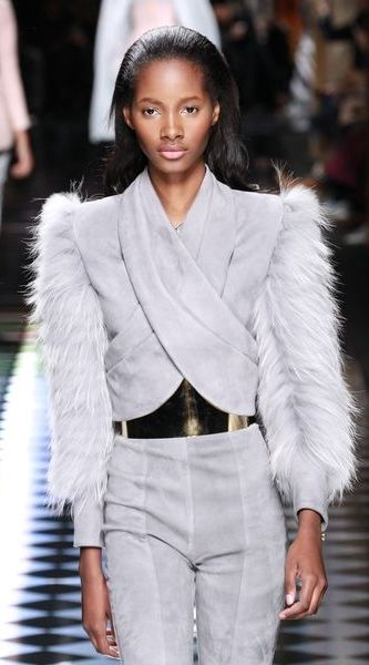 bdff38d3 ... Collection Is Another Social Media Winner, But What About the Clothes?  A Grey Jacket With Fur Sleeves at the Balmain Fall 2016 Show // See All