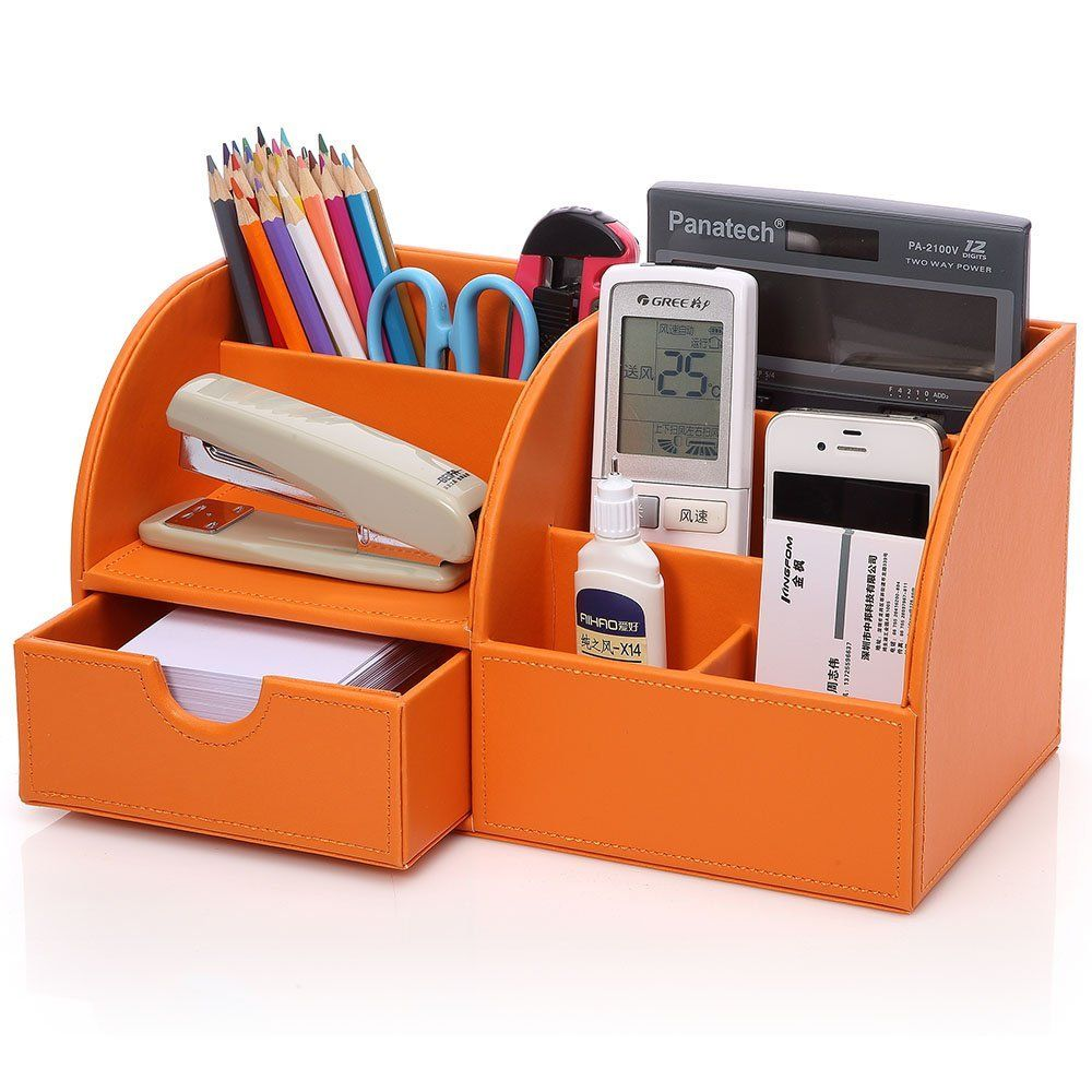 kingom 7 storage compartments multifunctional pu leather office desk organizer desktop. Black Bedroom Furniture Sets. Home Design Ideas