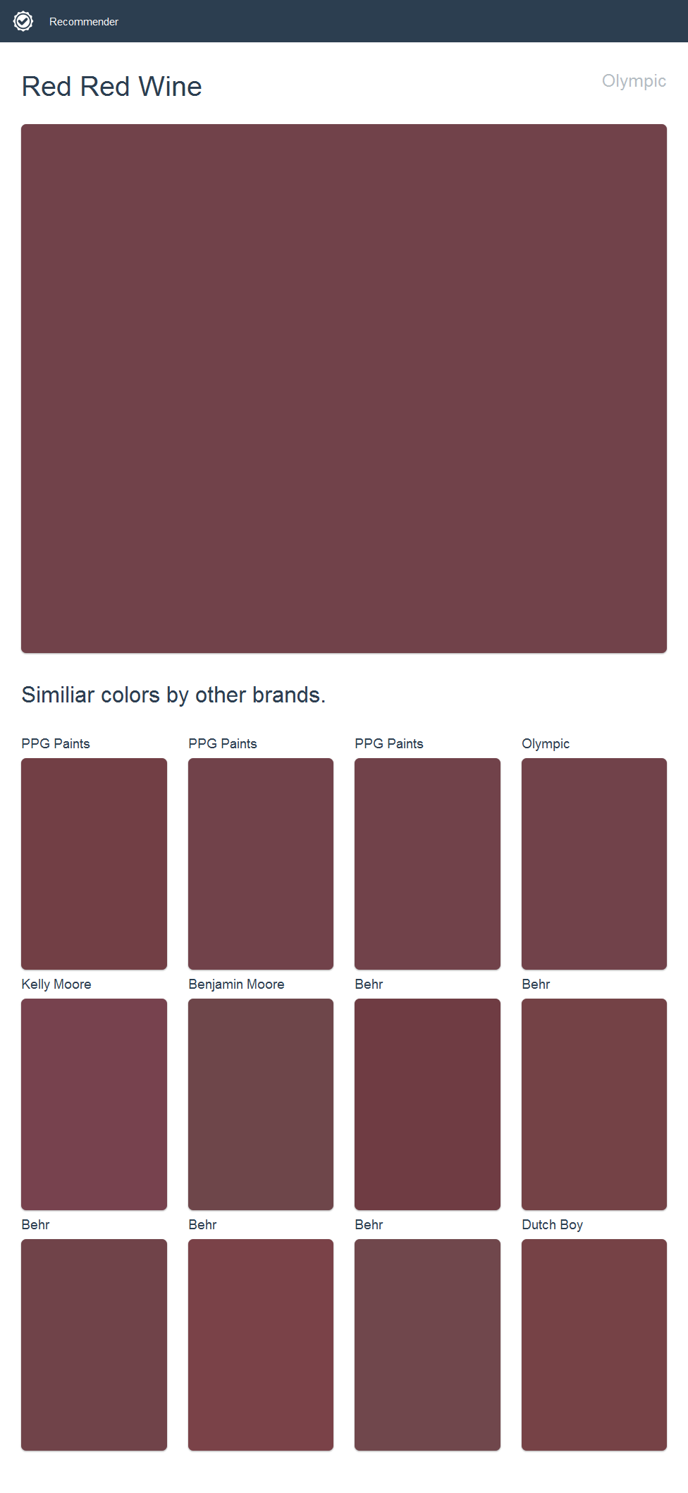 Red Wine Olympic Click The Image To See Similiar Colors By Other Brands