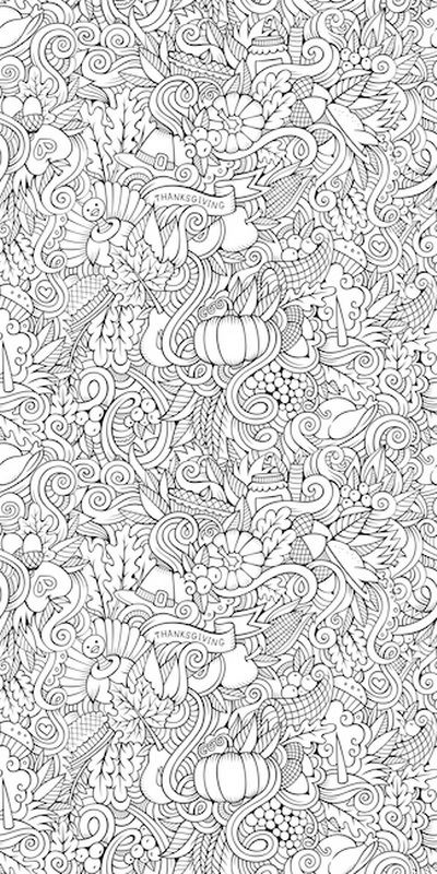 Thanksgiving Doodle I By Olga Kostenko Coloring Wallpaper Is A