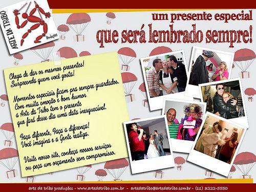 Arte da Tribo - Telegrama Animado   Chega de dar os mesmos presentes! Surpreenda quem você gosta!  Momentos especiais ficam pra sempre guardados. Com muita emoção e bom humor a Arte da Tribo tem o presente que fará desse dia uma data inesquecível.  Faça diferente, Faça a diferença! Você imagina e a Gente realiza.  Arte da Tribo Produções www.artedatribo.com.br artedatribo@artedatribo.com.br (11) 3222-5550 / 98875-7030
