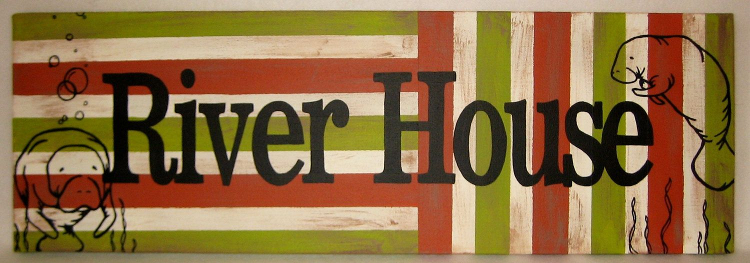 Handpainted River House Manatee Theme Wall by InspirationsByJordan, $80.00