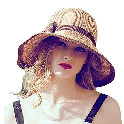 2aff69a8c48c8f Chic Ladies Sun Visor Wide Large Brim Foldable Breathable Beach Straw  Bucket Hat Home Prefer http