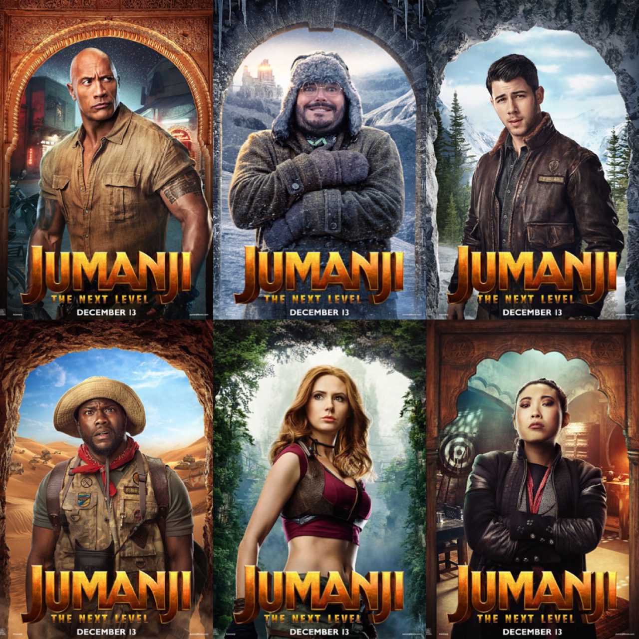 Jumanji The Next Level character posters Jumanji movie