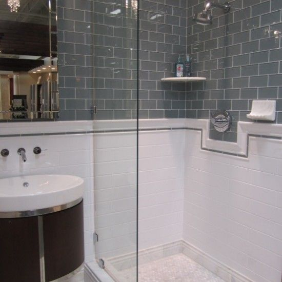4x10 Tender Grey Gloss Subway Tiles Bathroom