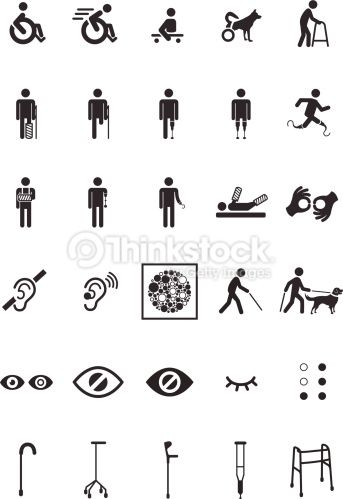 Set Of 30 Disable Icons Disability Art Vector Art Person Icon