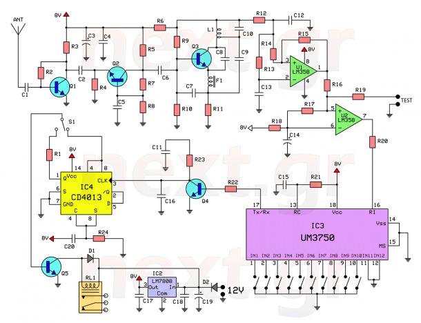 Rf Remote Control Switch Circuit Diagram Circuito Electronico Control Remoto Circuitos