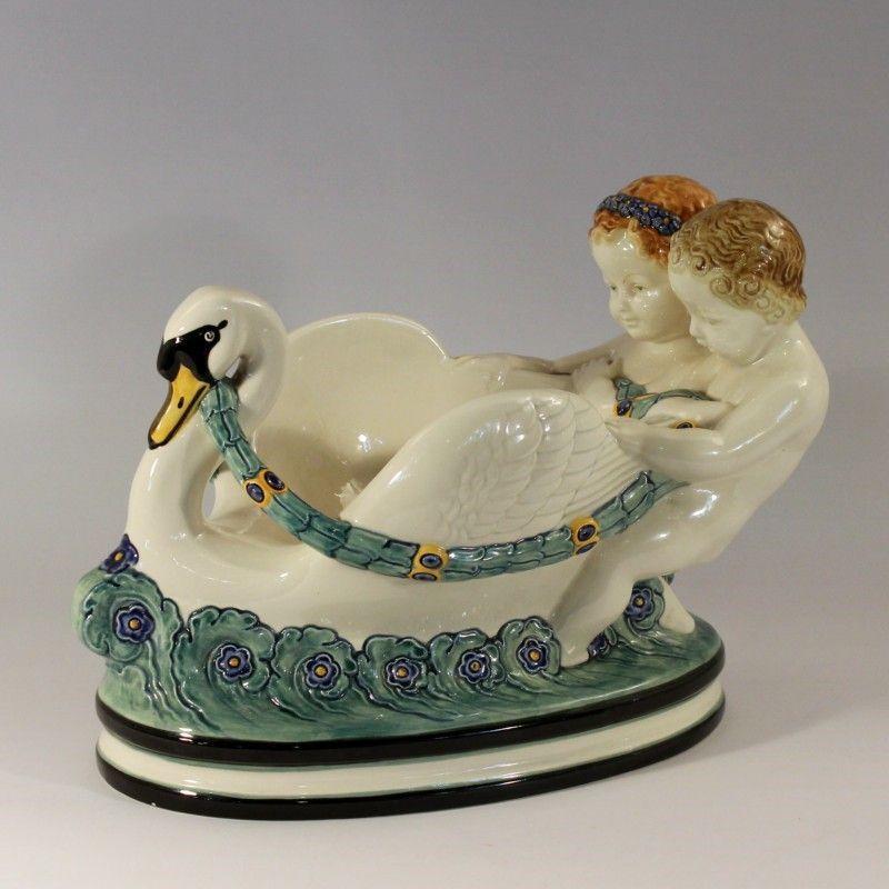 Steingut Keramik karlsruher majolika schale um1915 blaue prägemarke nr 1231