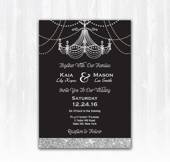 Vintage Chandelier Wedding Invitation