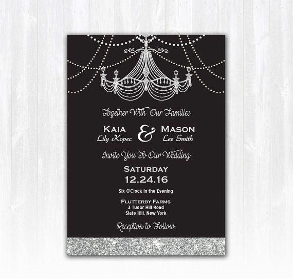 Vintage Chandelier Wedding Invitation DIY PRINTABLE Digital File or Print (extra) Glitter Wedding Invitation, Chandelier Invitation, Black Tie Wedding, Sparkle Wedding, Chandelier Invite