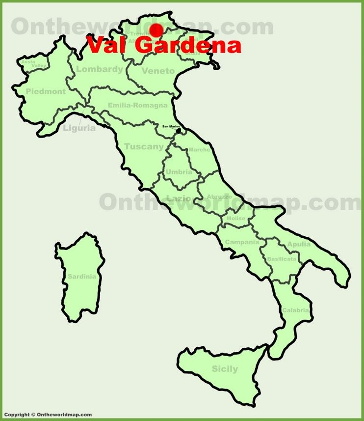 Val Gardena location on the Italy map Maps Pinterest Italy