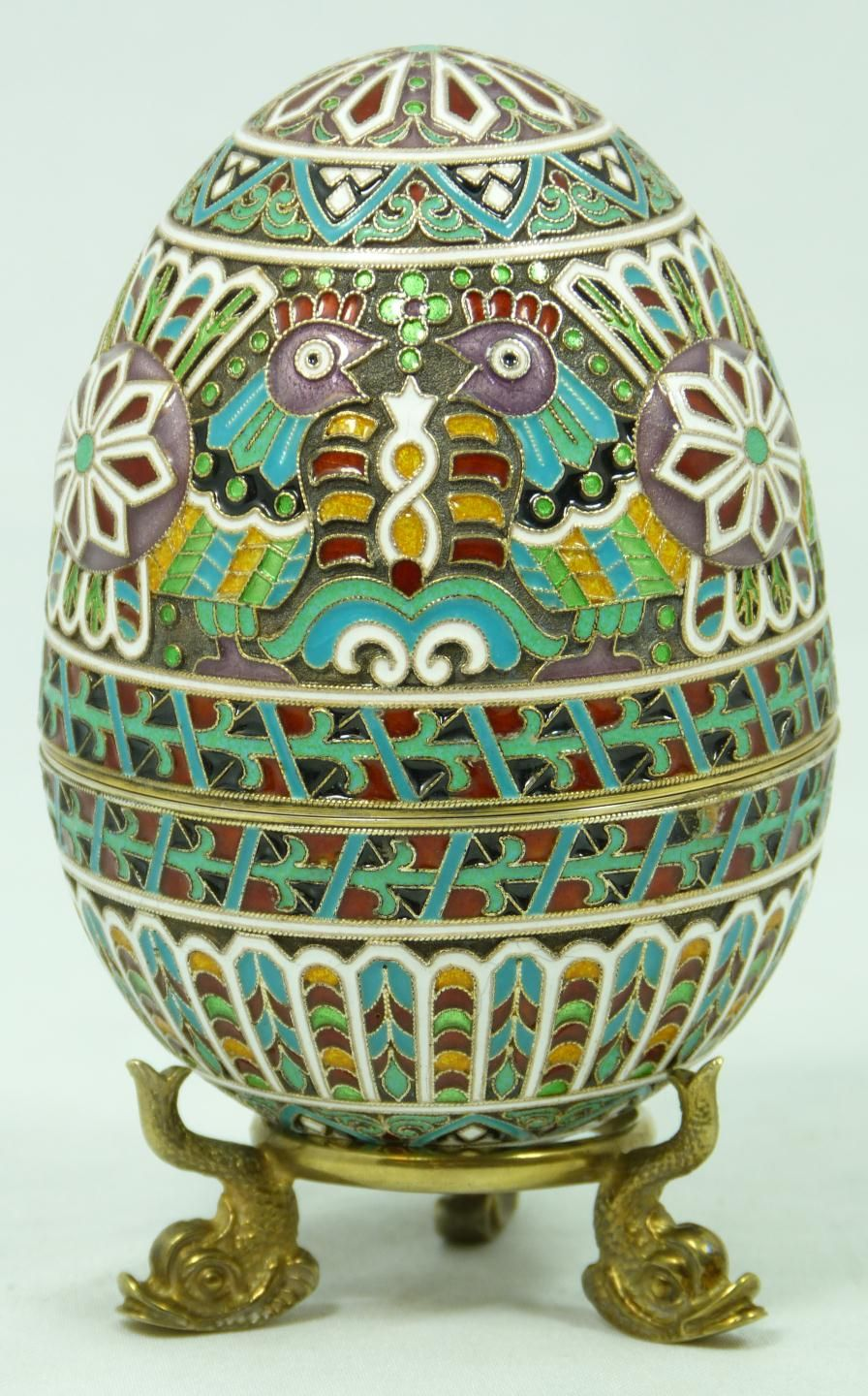 Fine Decorative Arts Russian Silver Cloisonne Enameled Egg Box having Elegent…