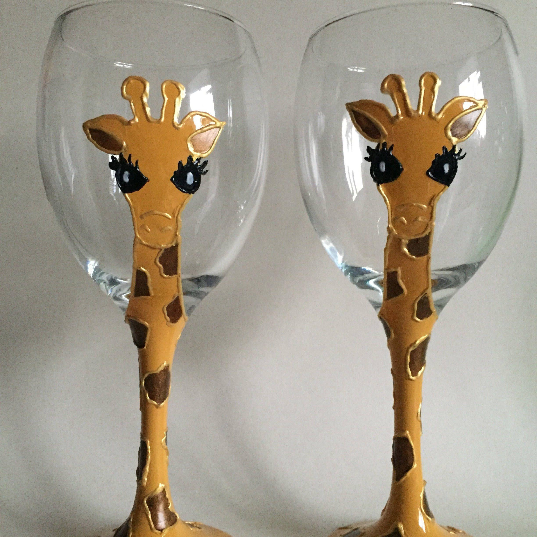Giraffe Wine Glasses, Handpainted, Pair Of Wine Glasses, Animal, Giraffe