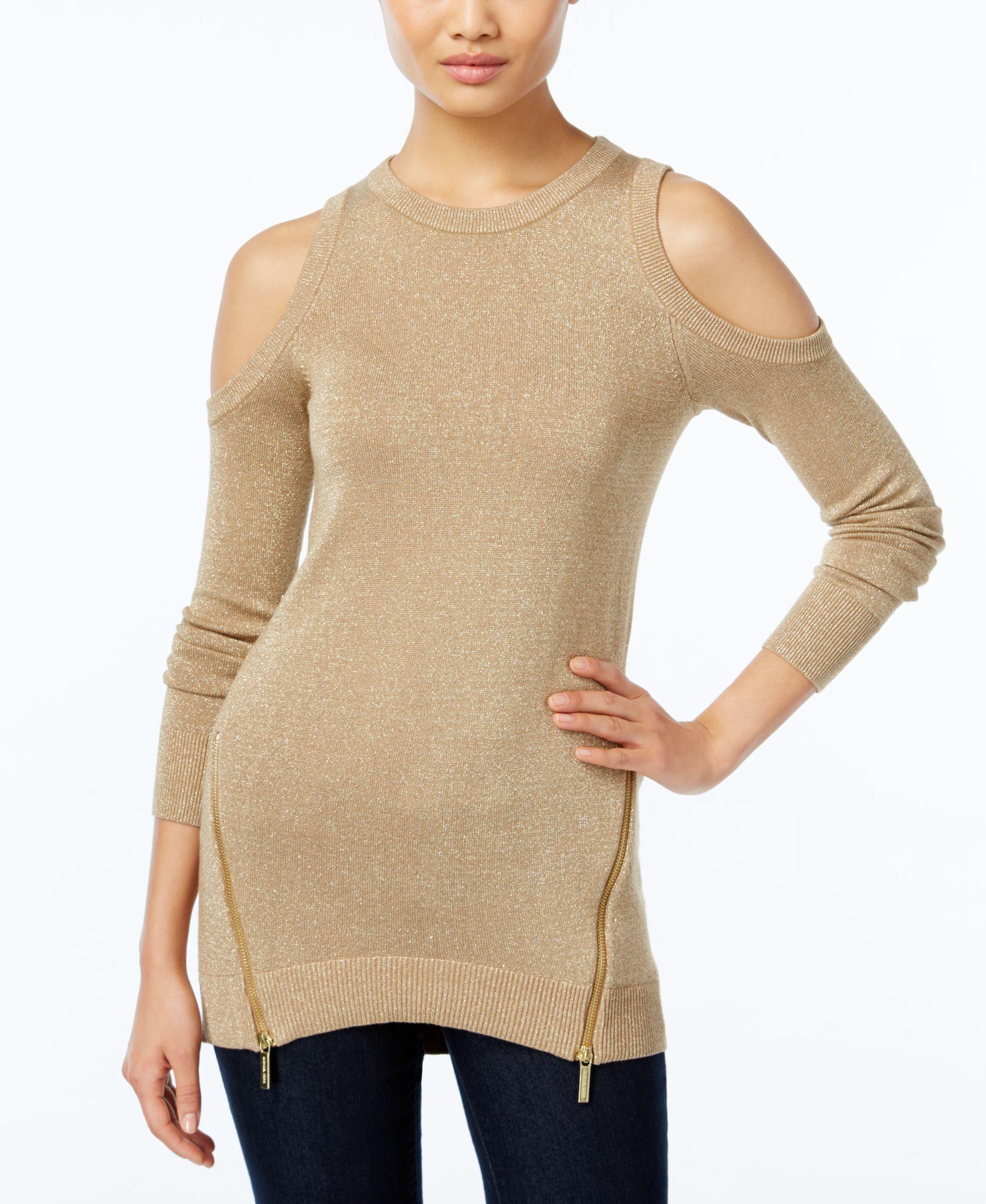 c1c296764cf6f Michael Michael Kors Metallic Cold-Shoulder Sweater