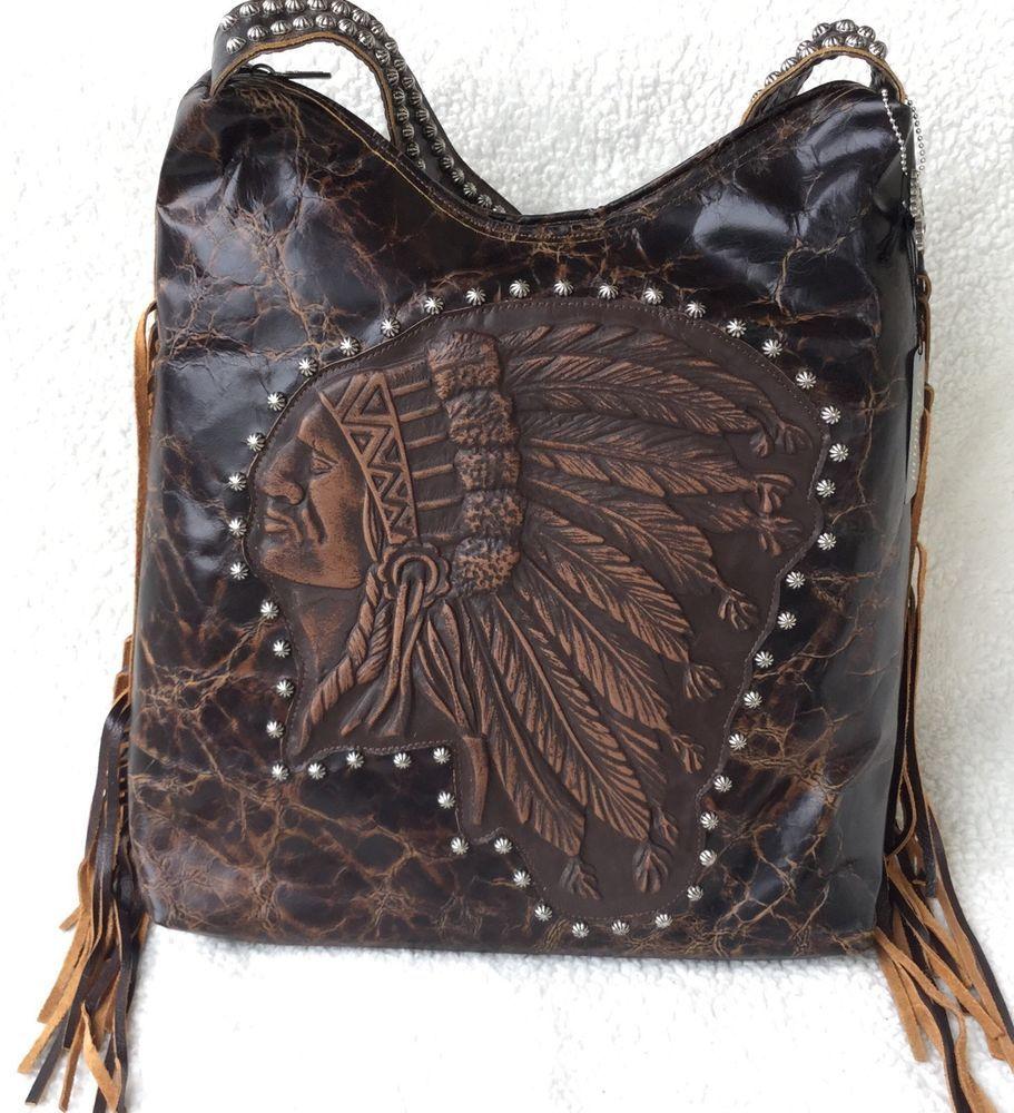Raviani Indian Chief Distressed Leather Handbag Purse W Fringe Western Rodeo Shoulderbag