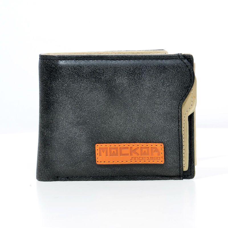 MACKAR Genuine Leather Mans Wallets Fashion Brand Logo Money Coin Purse  Card Holder Bi-Fold 91dc54e55b3e