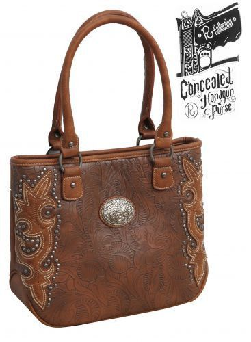 Embossed Pu Leather Conceal And Carry Handbag With Engraved Concho Silver Studs Fashion Articles At 60 Whole Prices
