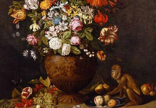 Ambrosius Bosschaert  Vase of Flowers with a Monkey, detail