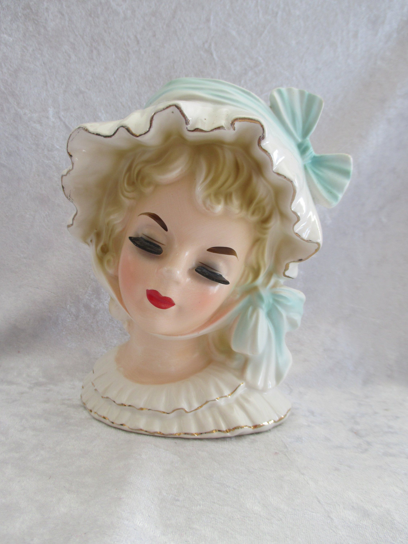 Vintage Head Vase 5 1 2 Ucago N Orleans Pretty Girls Head Vase Planter Mint Green Lady Head Vase Headvase Head Vase Ceramic Lady Heads Beautiful Vase