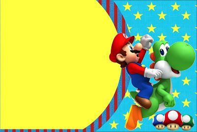 Super Mario Bros Kit Completo com molduras para convites – Mario Party Invitations