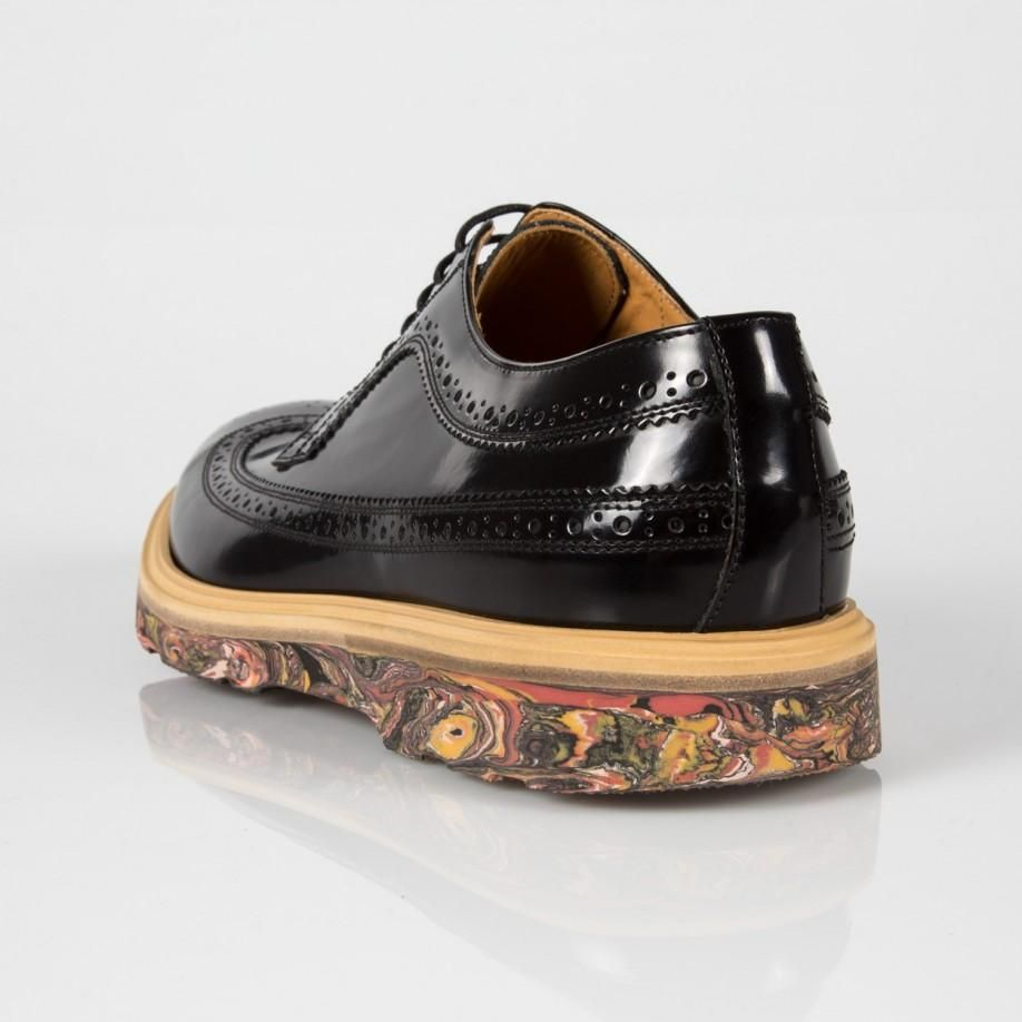 a3e9fbdc40d Paul Smith Shoes | Men's Black Leather Grand Marbled Brogues | Shoes ...