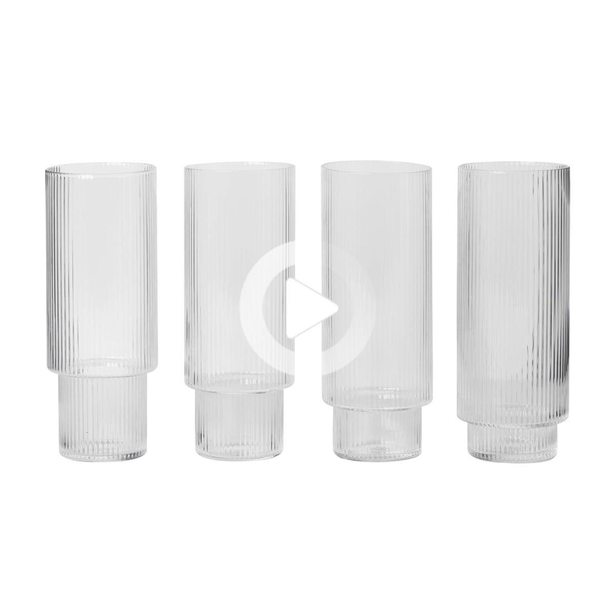 Photo of ferm LIVING – Ripple highball glasses, clear (set of 4)