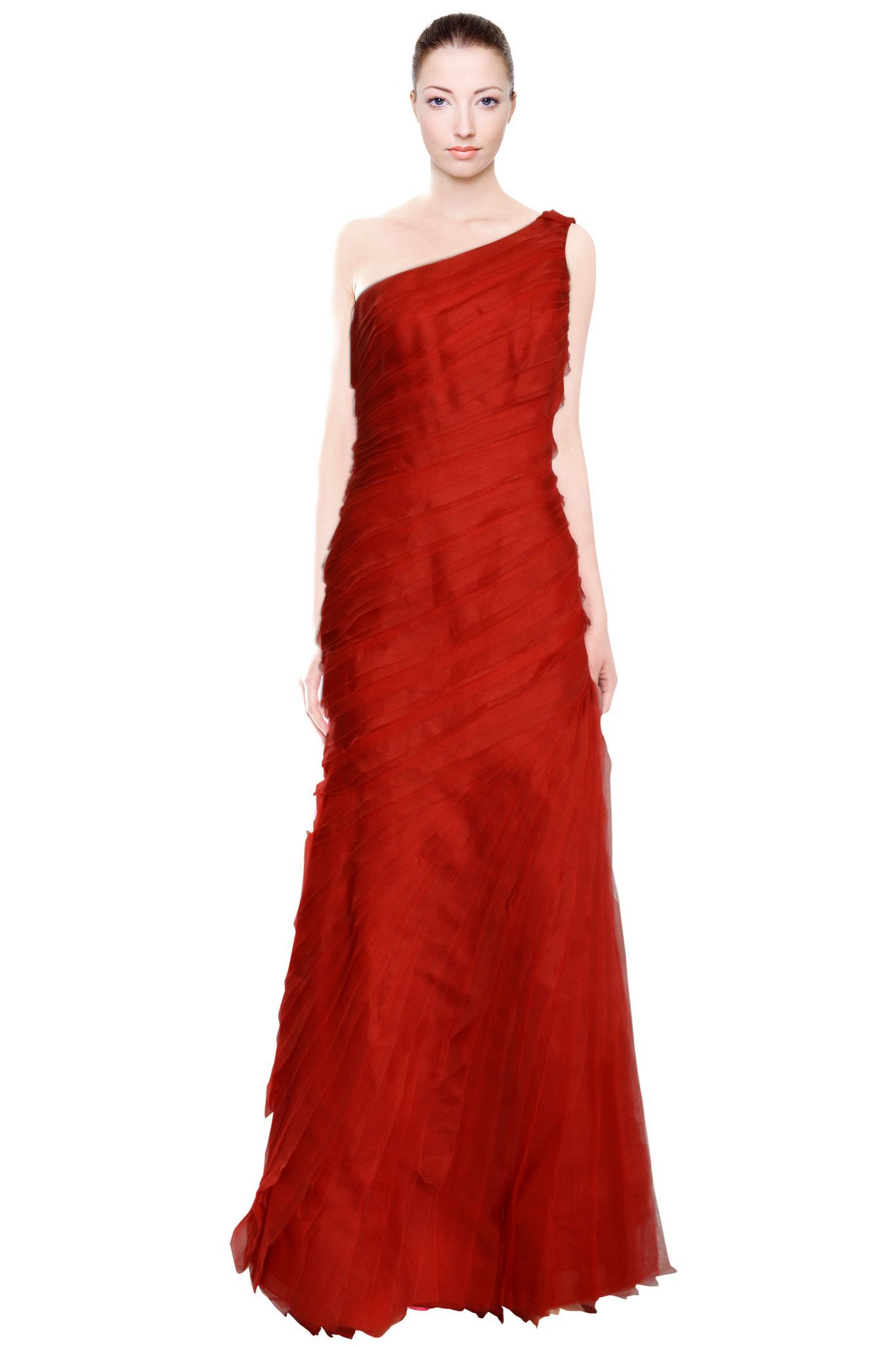 One shoulder red tiered svelte fitted evening gown dress products