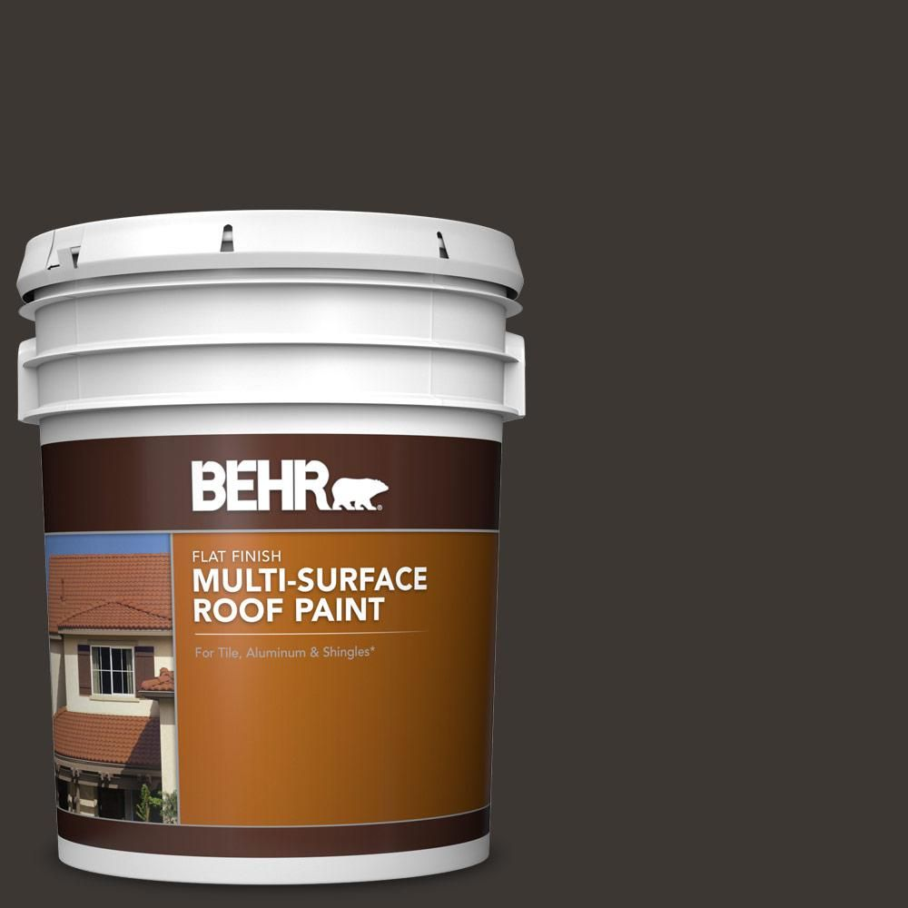 Behr 5 Gal Mq1 35 Off Broadway Flat Multi Surface Exterior Roof Paint Roof Paint Exterior Paint Types Of Roofing Materials
