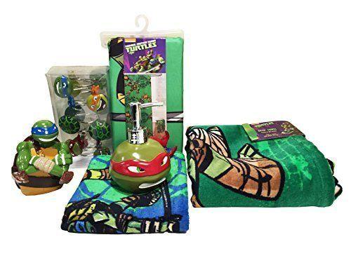 Teenage Mutant Ninja Turtles Bath Set Bathroom Shower Curtain Hooks Towel Gift Nickelodeon