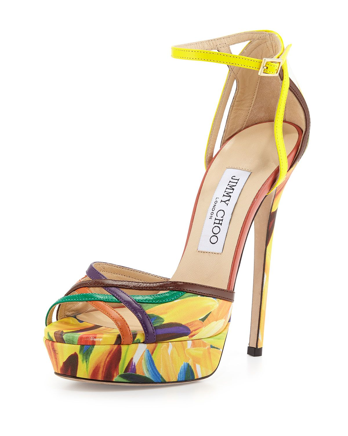 b06c78965c Jimmy Choo Laurita Feather-Print 135mm Sandal, Spice Mix | Sapatos ...