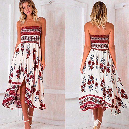 195f26582 Women Long Dress, Boho Off Shoulder Long Maxi Evening Party Beach Dress  Floral Sundress