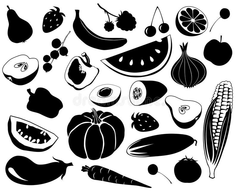 Fruit An Vegetables Black And White Silhouettes Of Fruit And Vegetables Ad Black Vegetables Fruit Fr Clip Art Pictures Silhouette Images Silhouette