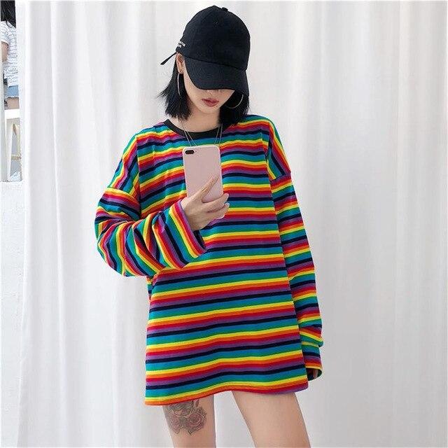 Neploe Rainbow Stripe T Shirt Long Sleeve Pu27 Camiseta De Manga Comprida Tops De Manga Longa Camisas Manga Longa