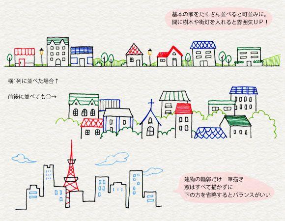 Paesaggio Urbano Di Illustrazioni ボールペン イラスト 4色