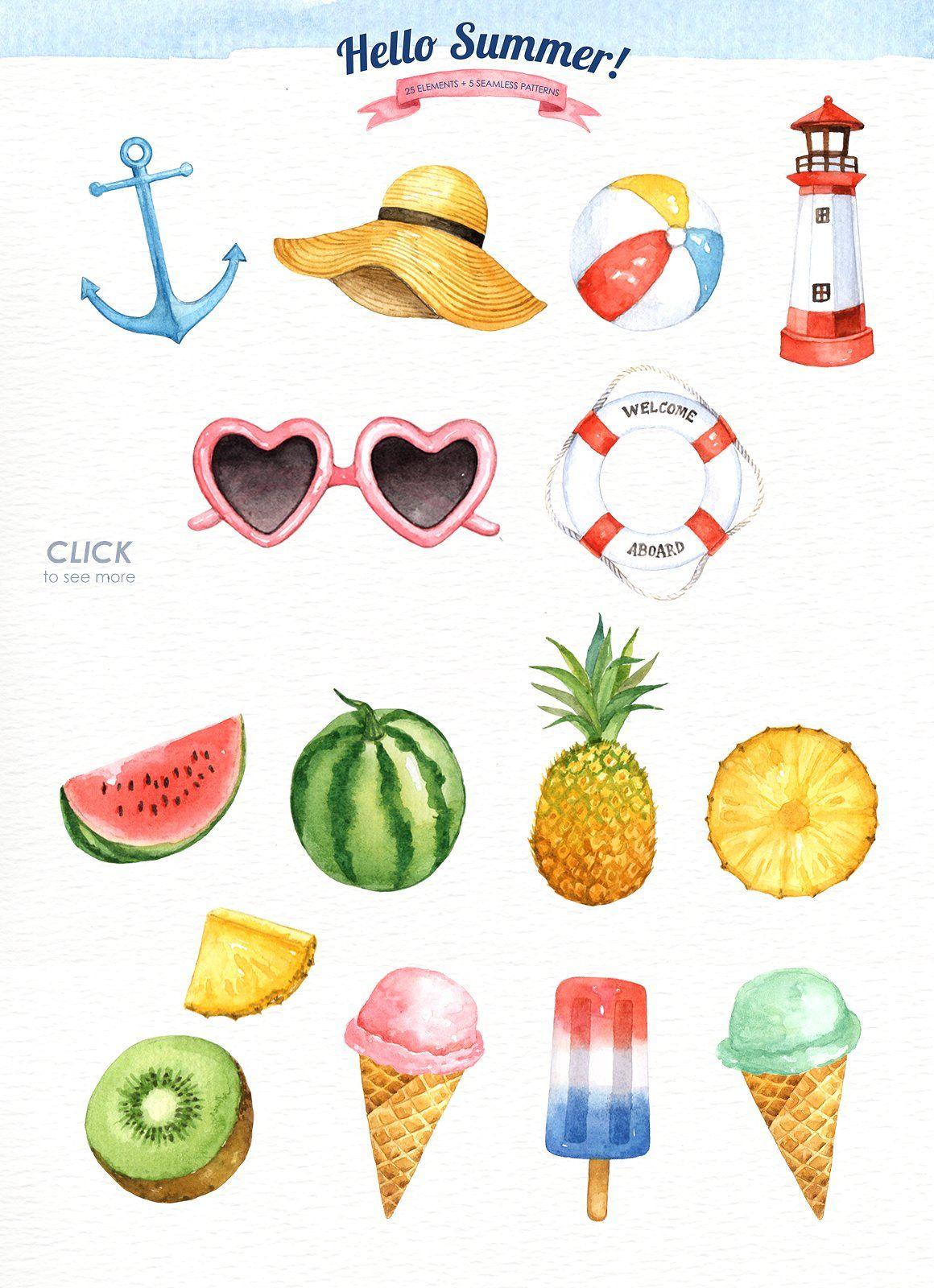Hello Summer Watercolor Clipart   Pinterest   Seidenmalerei ...