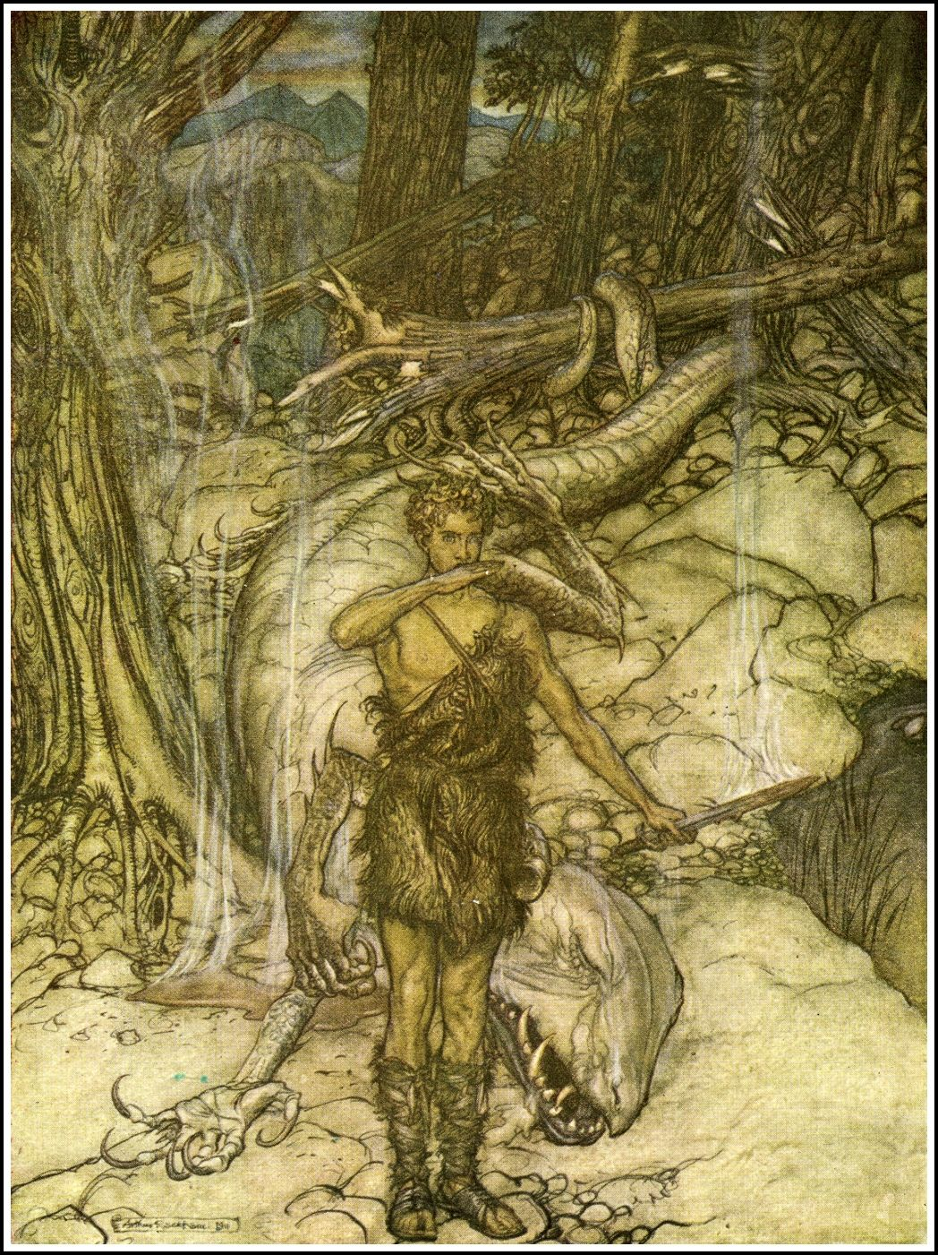 Arthur Rackham - Siegfried - blood burns like fire | The Ring of the