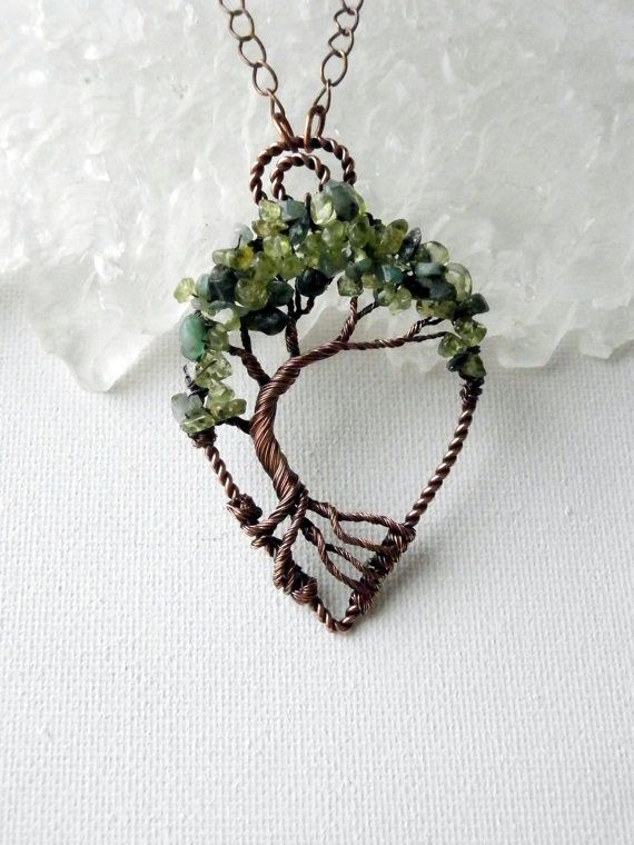 Wire Wrapped Tree of Life Bonsai Pendant, Peridot & Emeralds ...