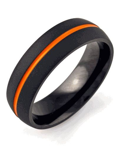 Black And Orange Anium Ring Flat Wedding Band With Inlay