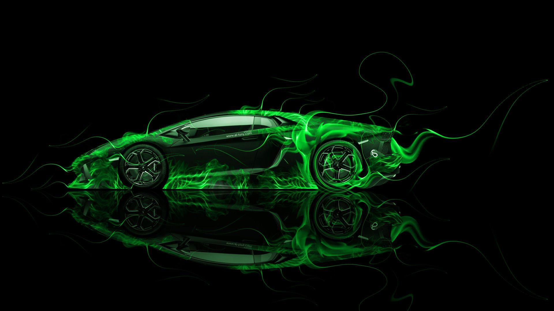 Lovely Lamborghini Aventador Side Green Fire Abstract Car 2014 HD Wallpapers Design By Tony Kokhan Www.el Tony.com_  (1920×1080)