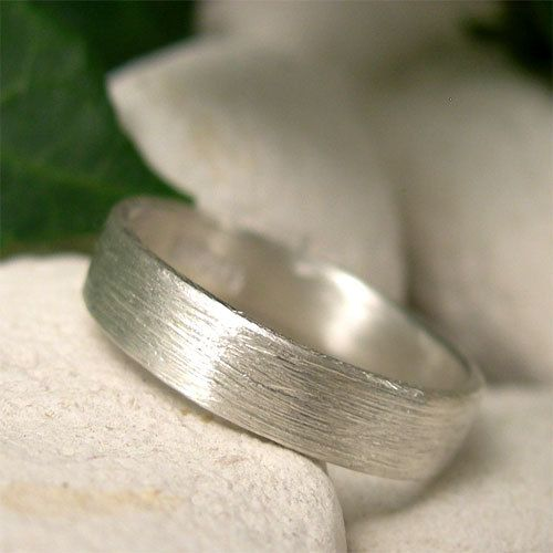 Brushed Silver Ring Hand Forged Sterling Band Simple Wedding Contemporary